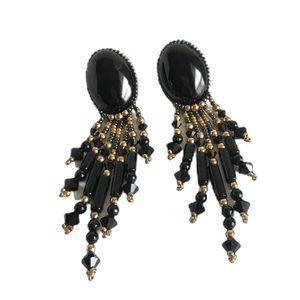 Vintage Black & Gold Beaded Earrings Dangle 90's